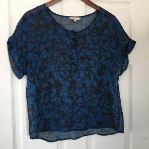 🥑 Banana Republic semi-sheer blue/black blouse M